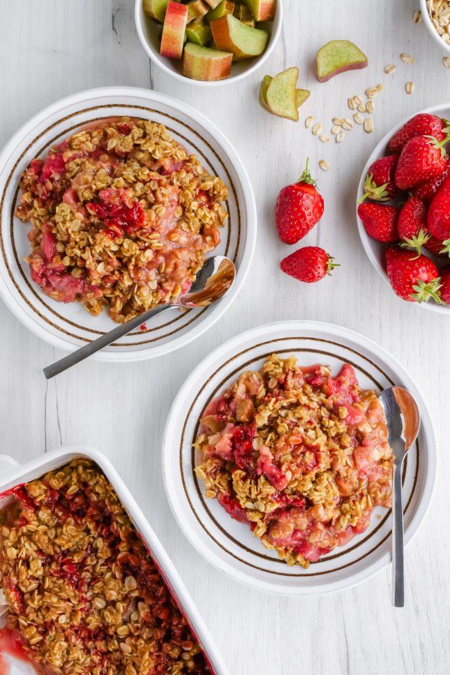 This easy strawberry rhubarb crisp has a thick layer of oat-based topping, is gluten-free, whole grain and can easily be made dairy-free and vegan. So many people have told me that this is the best crisp topping ever!