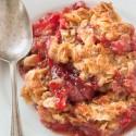 Strawberry Rhubarb Crumble (gluten-free, vegan, whole grain, dairy-free)
