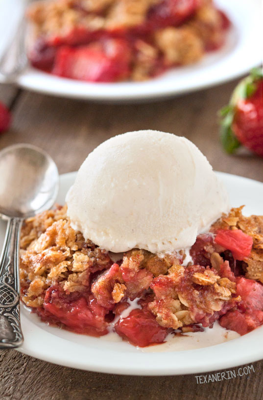 Strawberry Rhubarb Crumble (WG, Vegan, GF, DF)