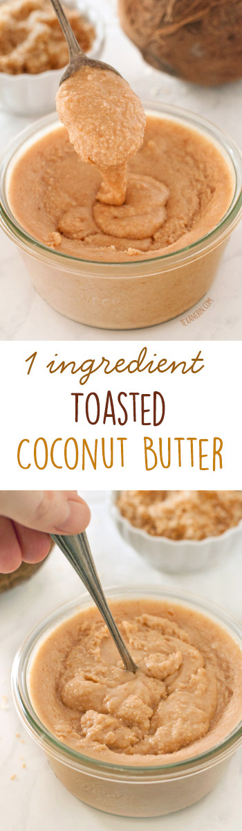 This toasted coconut butter only takes a few minutes to make and all you need is a food processor and coconut flakes! {naturally gluten-free and vegan}