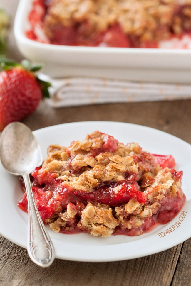 Strawberry Rhubarb Crumble (gluten-free and 100% whole grain with dairy-free and vegan options.