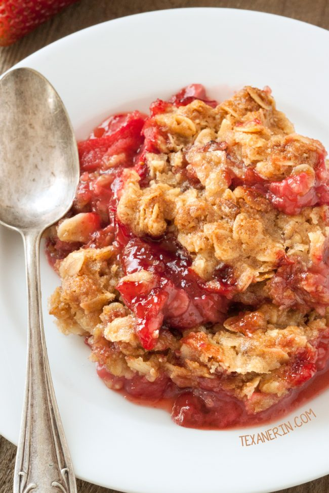 Strawberry Rhubarb Crumble (gluten-free and 100% whole grain with vegan and dairy-free options.)
