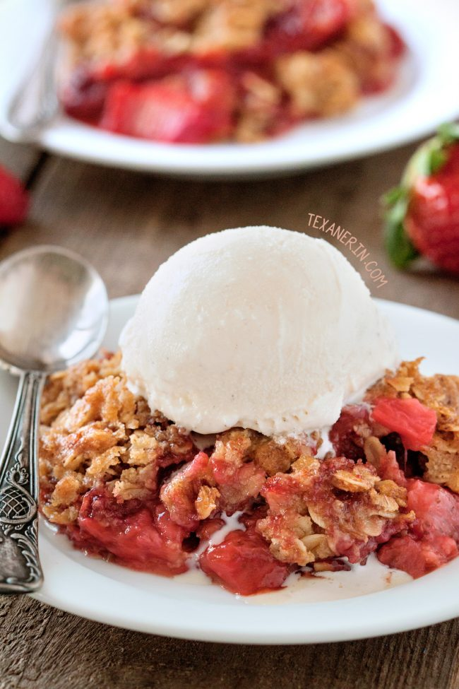 Easy Strawberry Rhubarb Crumble (gluten-free and 100% whole grain with vegan and dairy-free options.)