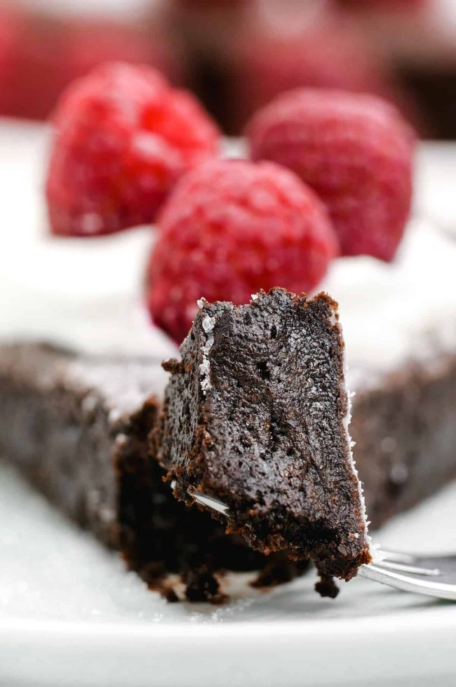 This kladdkaka, also known as Swedish chocolate sticky cake, is amazingly gooey and delicious. This recipe includes a traditional option as well as a gluten-free, dairy-free and vegan version. Only 8 ingredients!