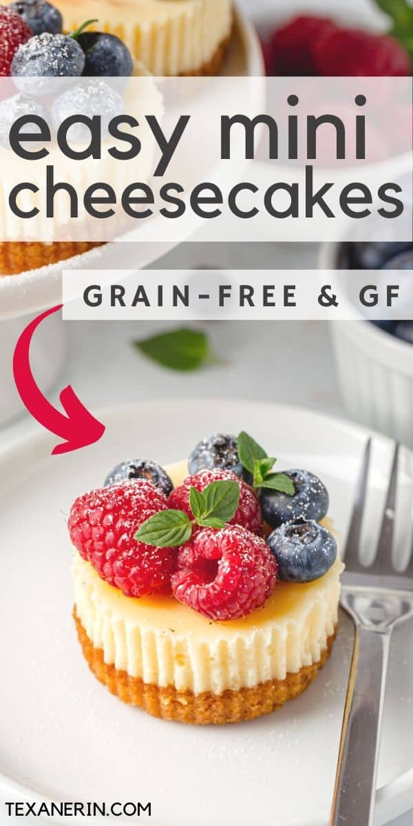These mini gluten-free cheesecakes are perfect for when you don't need a full cheesecake! They're so much easier and they freeze great.