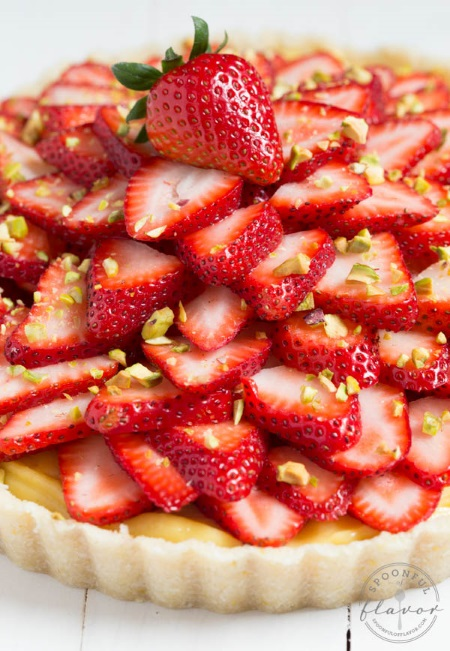 No-bake Strawberry Pistachio Cardamom Tart from A Spoonful of Flavor