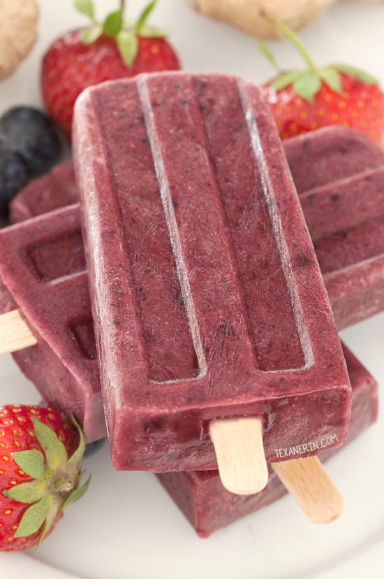 Ginger Berry Popsicles {paleo, vegan, grain-free, gluten-free, dairy-free, fruit-sweetened}