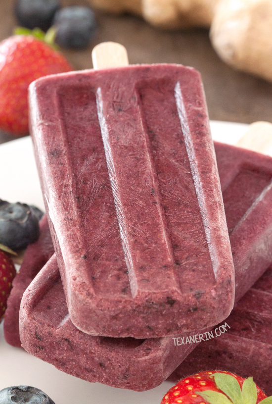 Ginger Berry Popsicles {fruit-sweetened, paleo, naturally gluten-free, vegan and dairy-free}