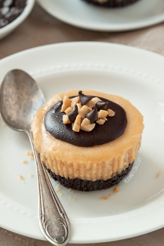 Mini Peanut Butter Cheesecakes {gluten-free, grain-free, whole grain options and naturally sweetened}