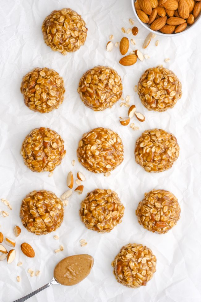 These soft and chewy no-bake maple almond butter cookies only take a few minutes to put together and are full of delicious fall flavors! {naturally vegan, gluten-free, dairy-free and 100% whole grain}