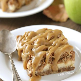 Caramel apple cheesecake bars (gluten-free, 100% whole grain)