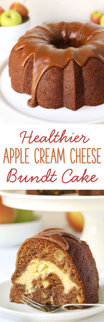 Healthier Apple Cream Cheese Bundt Cake with a delicious Praline Frosting {100% whole grain but can also be made with all-purpose flour}