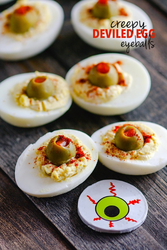 Deviled eggs made to look like blood shot eyeballs! From Cotter Crunch