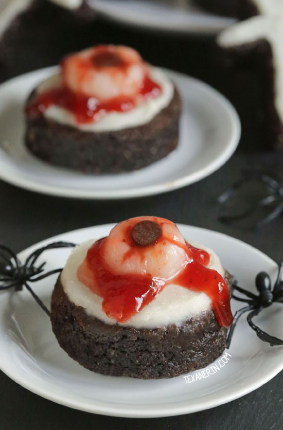 Bloody Eyeball Brownies without food coloring! This brownie base is paleo, gluten-free, grain-free and dairy-free but these bloody eyeball brownies can be made with any brownie recipe. Perfect for Halloween!