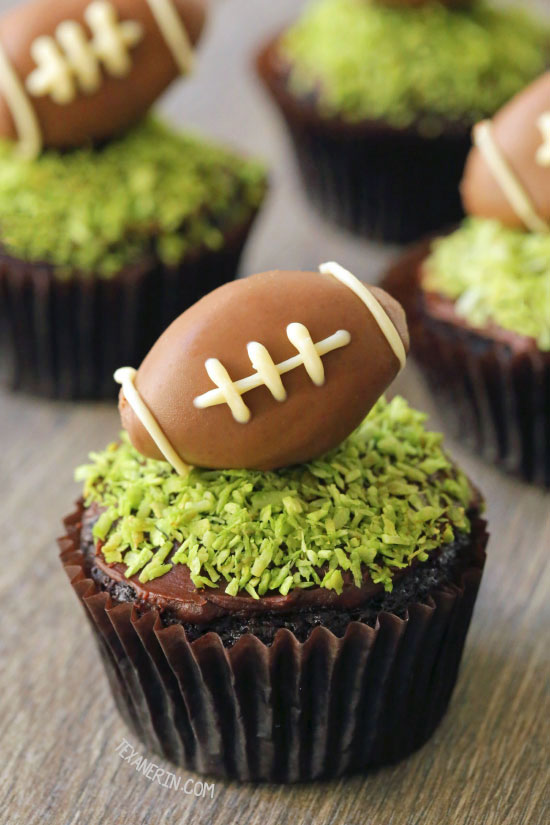 Fudgy and Moist Chocolate Football Cupcakes for #MeatlessMondayNight {vegan, dairy-free, and 100% whole wheat (all-purpose flour can also be used)}