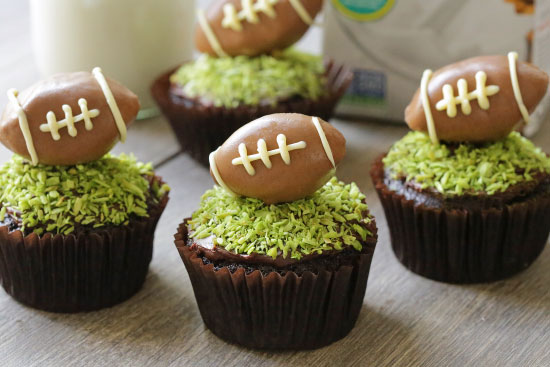 Moist and Fudgy Chocolate Football Cupcakes for #MeatlessMondayNight {vegan, dairy-free, 100% whole grain (all-purpose flour can also be used)}