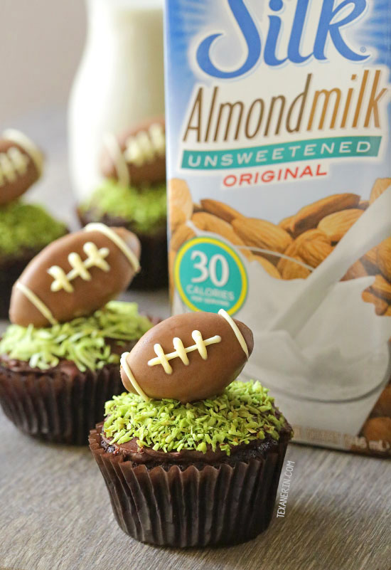 Fudgy and Moist Chocolate Football Cupcakes for #MeatlessMondayNight {vegan, dairy-free, and 100% whole grain (all-purpose flour can also be used)}