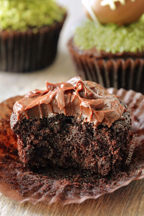 Fudgy and Moist Chocolate Football Cupcakes for #MeatlessMondayNight {vegan, dairy-free, 100% whole wheat (all-purpose flour can also be used)}