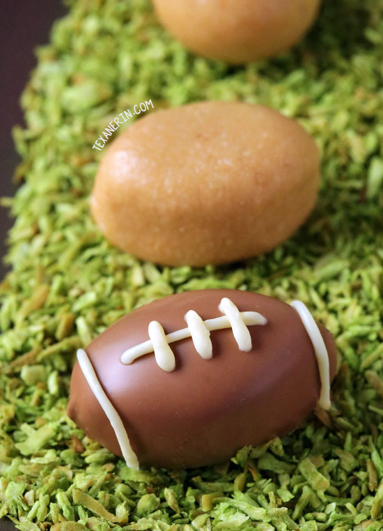 These chocolate peanut butter football truffles are made a little healthier in this grain-free and gluten-free version! With vegan, paleo and dairy-free options.