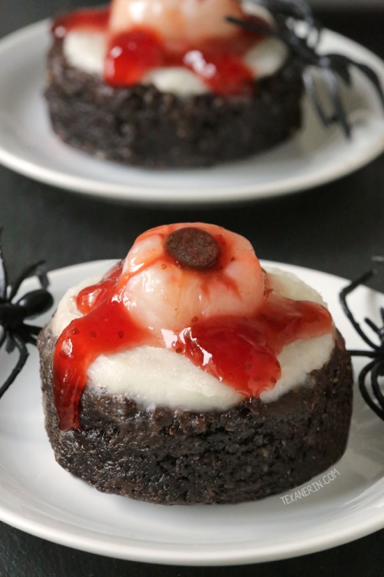 Bloody Eyeball Brownies without food coloring! This brownie base is paleo, grain-free, gluten-free, and dairy-free but these bloody eyeball brownies can be made with any brownie recipe. Perfect for Halloween!