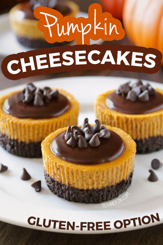These mini pumpkin cheesecakes have a delicious and easy homemade chocolate cookie crust and can be made gluten-free, whole wheat or with all-purpose flour.