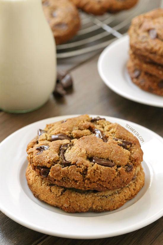 Image: These paleo chocolate chip cookies are thick, chewy and have the perfect texture {grain-free, gluten-free, and dairy-free}