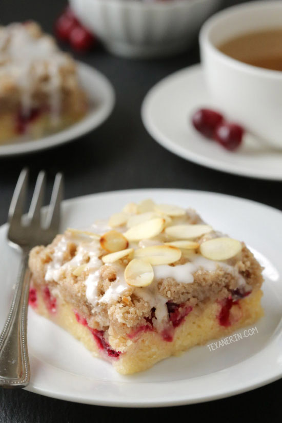 These cranberry almond bars have a dense, almost gooey-like cake base and are topped with a hefty amount of streusel! With gluten-free and 100% whole grain options.