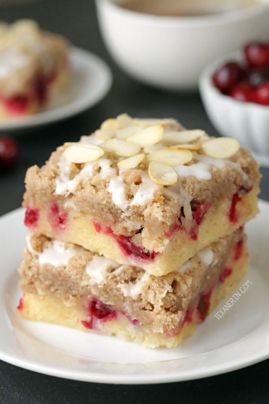 These cranberry and almond bars have a dense, almost gooey-like cake base and are topped with a hefty amount of streusel! With gluten-free and 100% whole grain options.