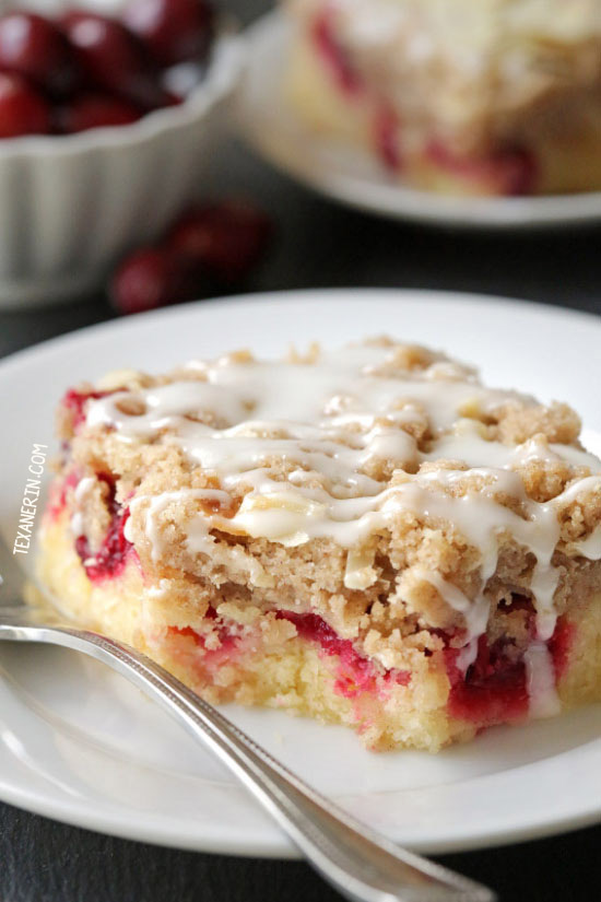 These almond cranberry bars have a dense, almost gooey-like cake base and are topped with a hefty amount of streusel! With gluten-free and 100% whole grain options.