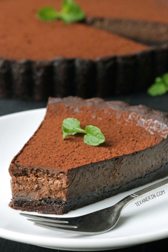 Mint Chocolate Tart {grain-free, gluten-free, whole grain options}