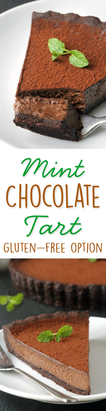 Mint Chocolate Tart with gluten-free and 100% whole grain options.
