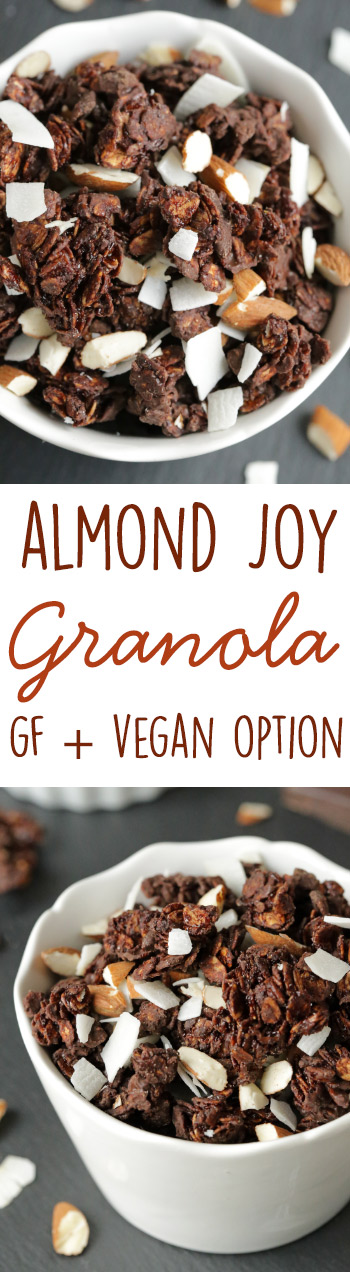 Almond Joy Granola {gluten-free, dairy-free, 100% whole grain and with a vegan option}