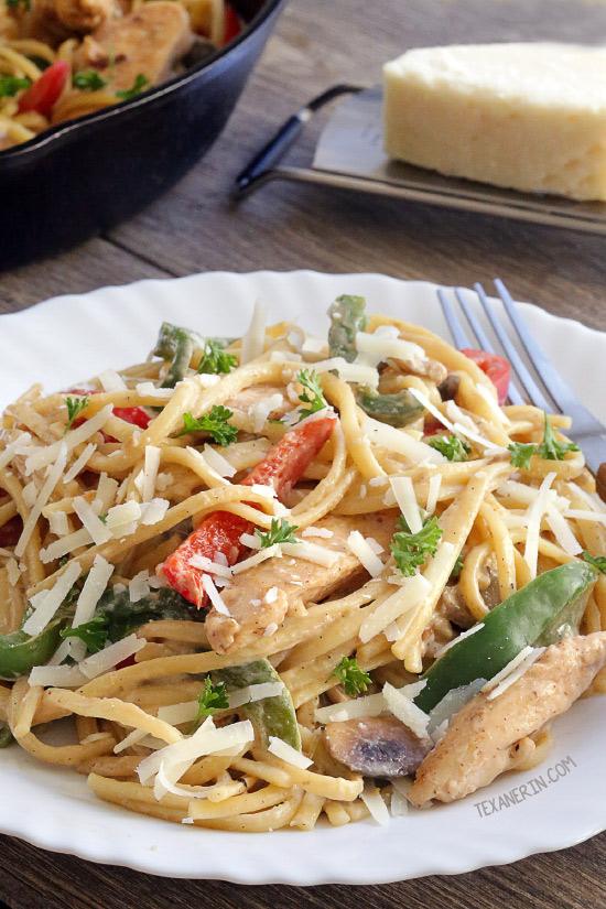 healthier cajun chicken pasta (gluten-free, whole grain
