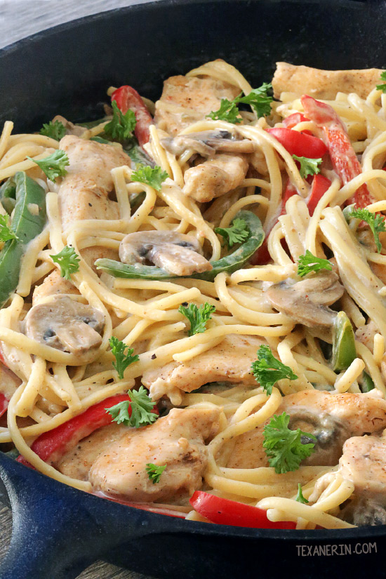 Healthier Cajun Chicken Pasta – has a delicious milk and cheese-based sauce and can be made gluten-free or 100% whole grain.