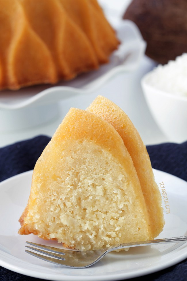 Coconut Rum Bundt Cake drenched in coconut rum syrup - can be made with all-purpose, gluten-free or whole grain flours. With a dairy-free option (please click through to the recipe to see the dietary-friendly options). #nordicware70