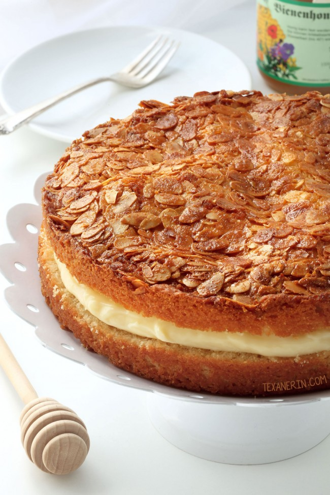 Bienenstich (Bee Sting Cake) – dairy-free and can be made gluten-free, 100% whole grain or with all-purpose flour.
