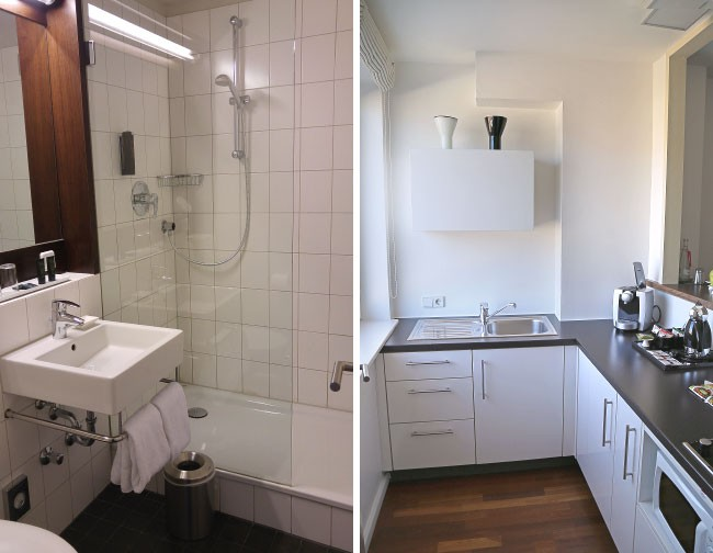 Hotel OTTO Studio Room Bathroom and Kitchenette