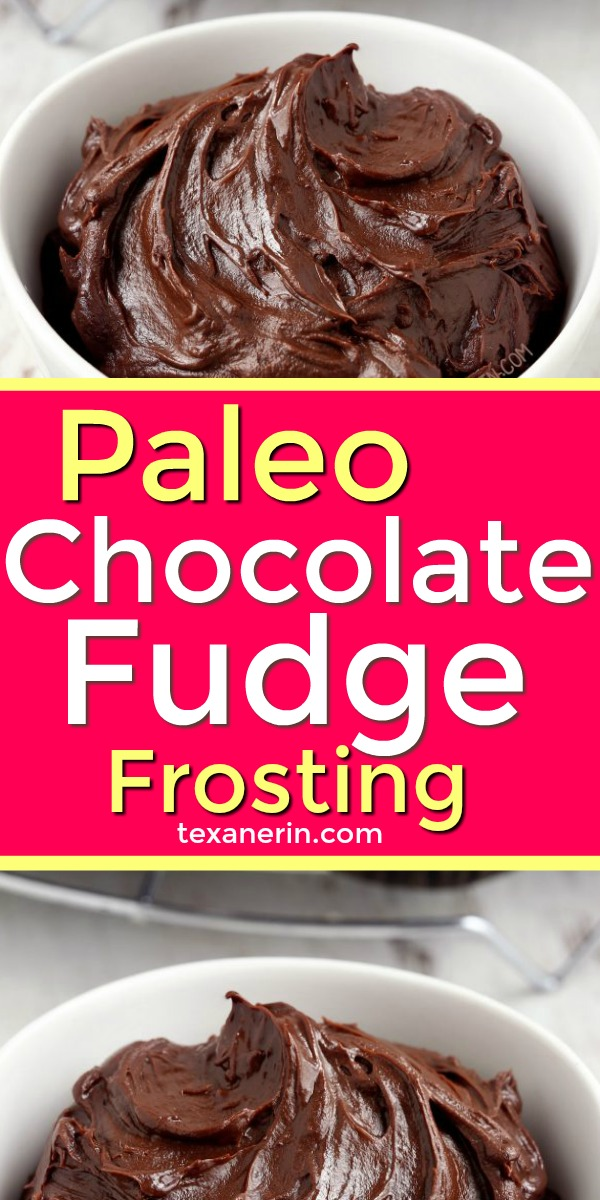 5-minute + 4-ingredient Paleo Chocolate Fudge Frosting. Can be piped and holds up perfectly at room temp! Please click through to the recipe to see all the dietary-friendly options.