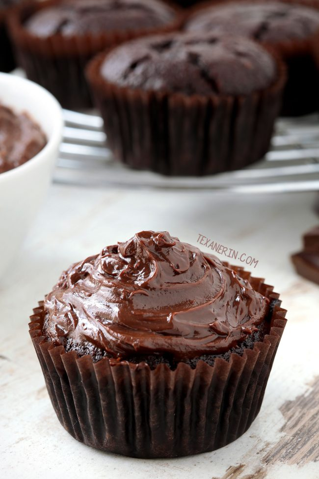 5-minute and 4-ingredient Paleo Chocolate Fudge Frosting. Can be piped and holds up perfectly at room temp! Please click through to the recipe to see all the dietary-friendly options.
