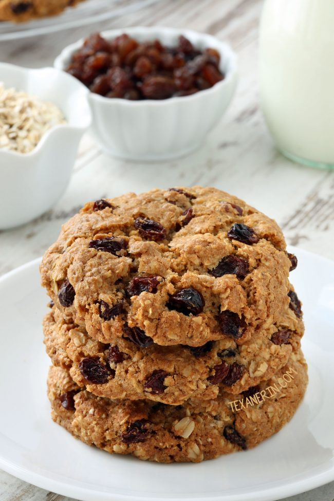 The Best Gluten-free Oatmeal Raisin Cookies (dairy-free with whole grain and all-purpose flour options)