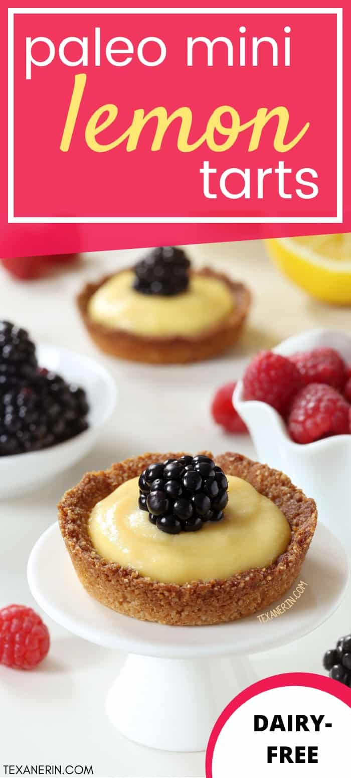 These paleo mini lemon tarts have an easy press-in crust and are totally honey-sweetened.