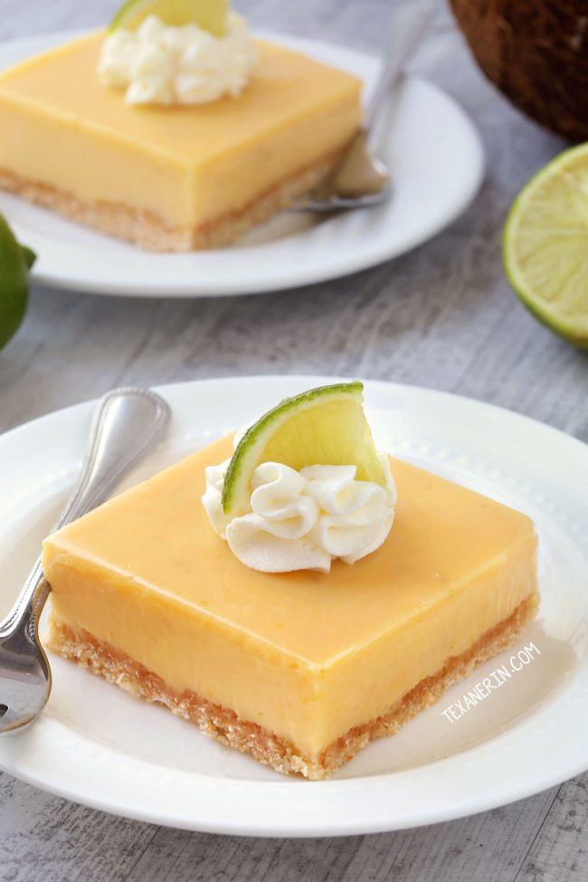 Thick Key Lime Pie Bars with a homemade coconut cookie crust (gluten ...