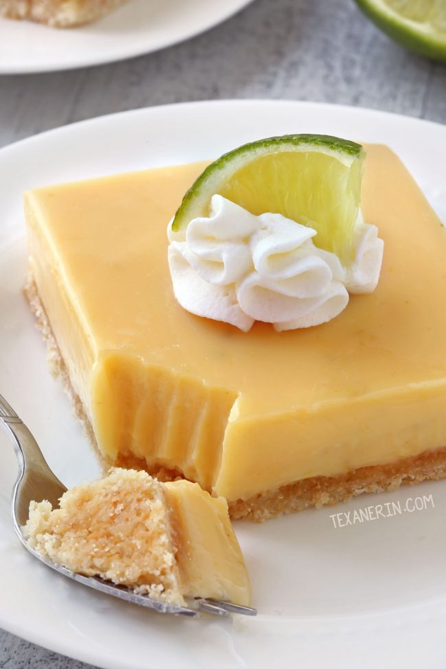 Thick Key Lime Pie Bars with a homemade coconut cookie crust (gluten-free, whole grain, and all-purpose flour options)