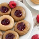 No-bake PB&J Thumbprint Cookies (vegan with paleo / nut-free options)