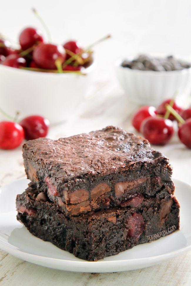 Super Fudgy Chocolate Cherry Brownies (gluten-free, dairy-free, 100% whole grain options)