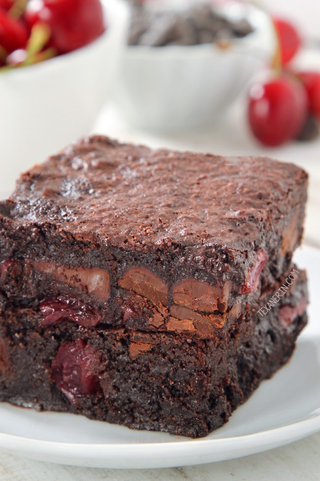 Super Fudgy Chocolate Cherry Brownies (gluten-free, dairy-free and 100% whole grain options)