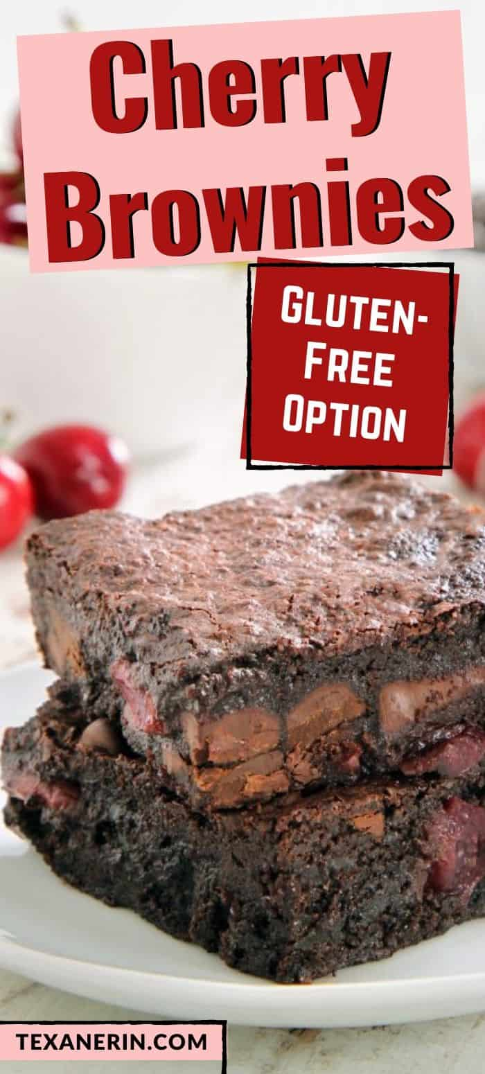 These fudgy chocolate cherry brownies are have an amazing texture and can easily be made gluten-free or whole wheat. They're also dairy-free.