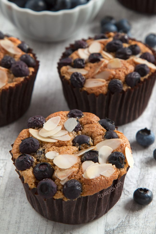 The Best Paleo Blueberry Muffins Ever – their angel food-like texture and almond flavor make them totally irresistible! Grain-free, gluten-free, dairy-free.