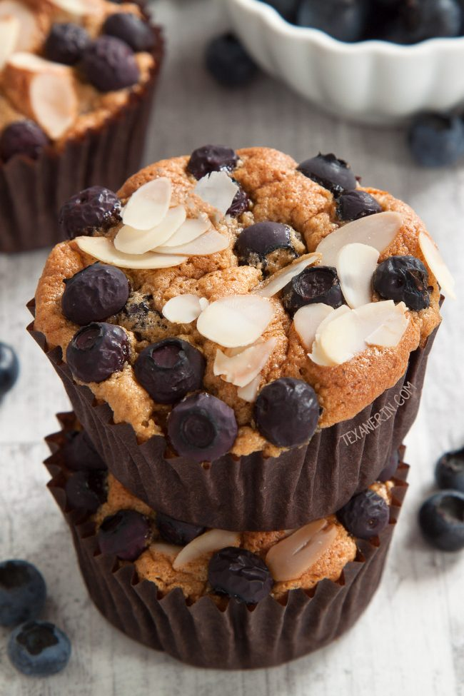Best Paleo Blueberry Muffins Ever – their angel food-like texture and almond flavor make them totally irresistible! Gluten-free, grain-free and dairy-free.