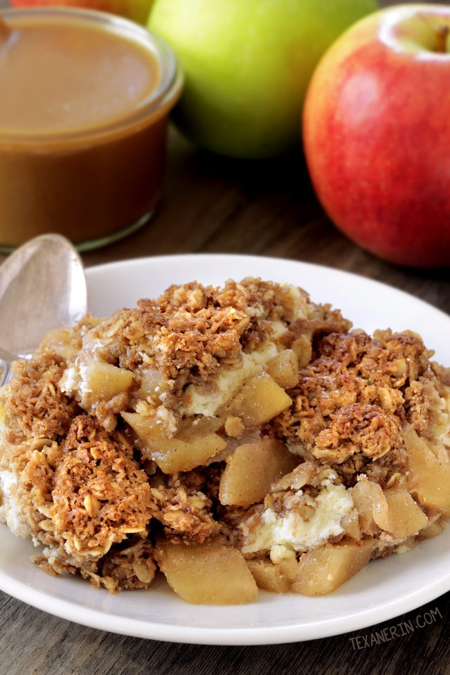 Caramel Apple Cheesecake Crisp (gluten-free, whole grain)